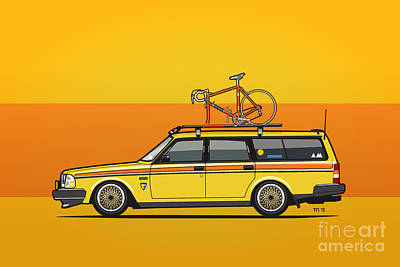 Yellow Volvo 245 Wagon With Roof Rack And Vintage Bicycle Art Print by Monkey Crisis On Mars