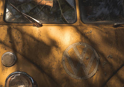 Wrecking Yard Photograph - Yellow Vw Bus by Kevin Felts
