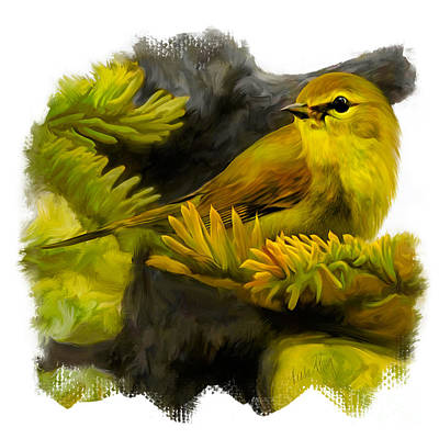 Warbler Digital Art - Yellow Warbler by Linda King
