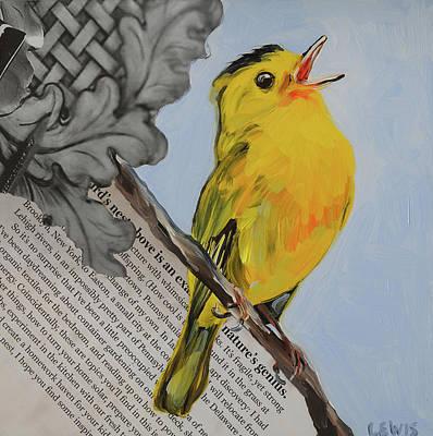 Warbler Mixed Media - Yellow Warbler Sings by Anne Lewis