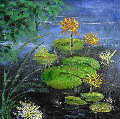 Yellow Water Lilies Art Print by Barbara Harper