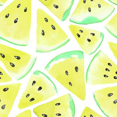 Yellow Watermelon Slices Pattern Art Print