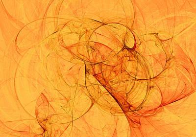 Abstract Digital Art - Yellow Web Fractal Background.  Fractal Artwork For Creative Design. by Oksana Ariskina