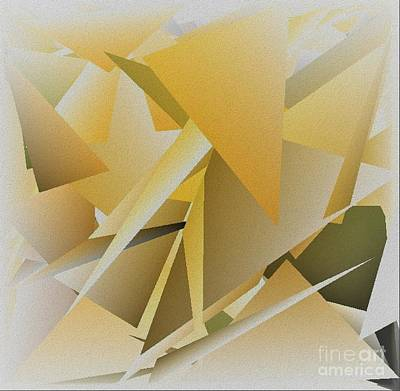 Mix Medium Digital Art - Yellow White Rectangles Abstract With Texture by Delynn Addams