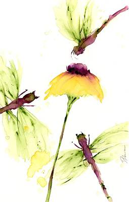 Painting - Yellow Wildflower And Dragonflies by Dawn Derman