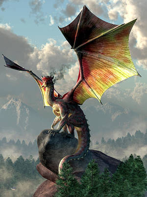 Yellow Winged Dragon Art Print