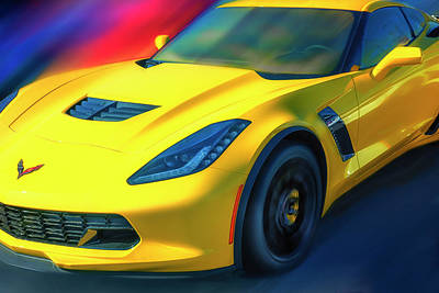 Speeding Chevrolet Photograph - Yellow Z06 Supercharged by Larry Helms