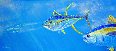 Tuna Painting - Yellowfin Crop Two by Ken Figurski