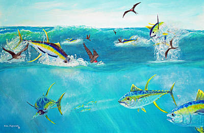 Sailfish Painting - Yellowfin Frenzy by Ken Figurski
