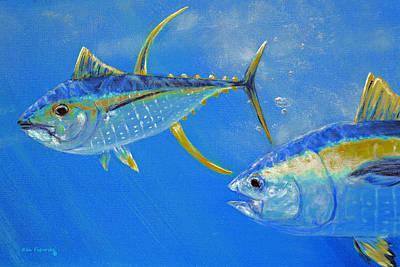Yellowfin Tuna Painting - Yellowfin Tuna Crop by Ken Figurski