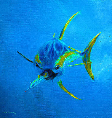 Wahoo Painting - Yellowfin Tuna Three by Ken Figurski
