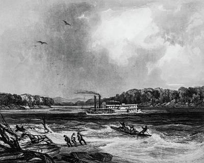 1833 Drawing - Yellowstone Aground 1833 by Douglas Barnett
