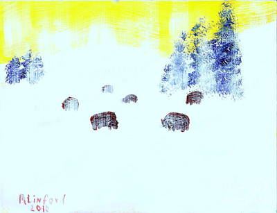 Painting - Yellowstone Bison In Winter by Richard W Linford