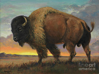 Yellowstone Wall Art - Painting - Buffalo by Don Langeneckert