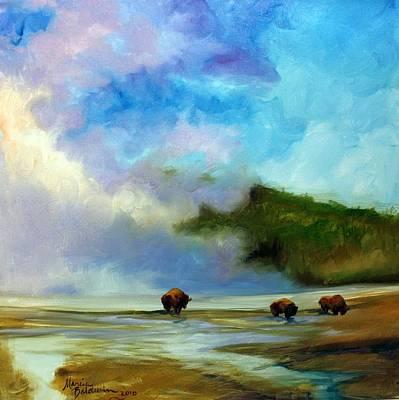 Buffalo River Painting - Yellowstone Buffalo by Marcia Baldwin