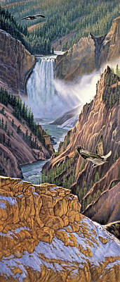 Yellowstone Painting - Yellowstone Canyon-osprey by Paul Krapf