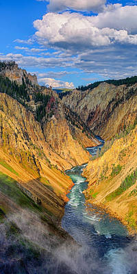 Photograph - Yellowstone Canyon Triptych Center Panel by Greg Norrell