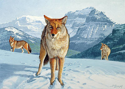 Coyote Painting - Yellowstone Coyotes by Paul Krapf