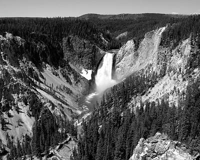 Photograph - Yellowstone Falls - Black And White by George Jones