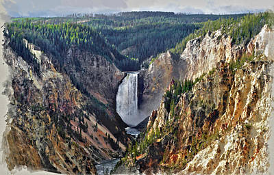 Digital Art - Yellowstone Falls Seen From Artist Point by Kai Saarto