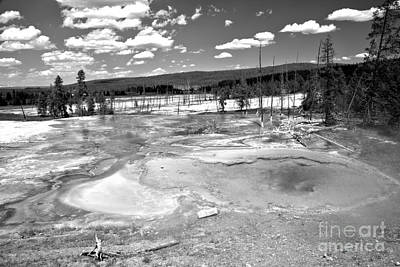 Photograph - Yellowstone Firehole Spring Black And White by Adam Jewell