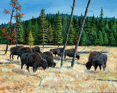 Mist Painting - Yellowstone Grazers by Timithy L Gordon