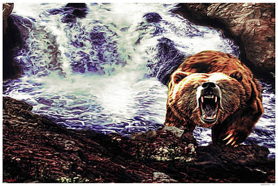 Yellowstone Mixed Media - Yellowstone Grizz by Rogermike Wilson