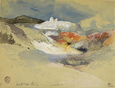 Drawing - Yellowstone, Hot Springs, July 21, 1892 by Thomas Moran