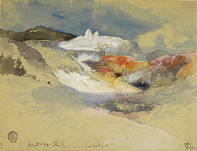Yellowstone Drawing - Yellowstone, Hot Springs, July 21, 1892 by Thomas Moran