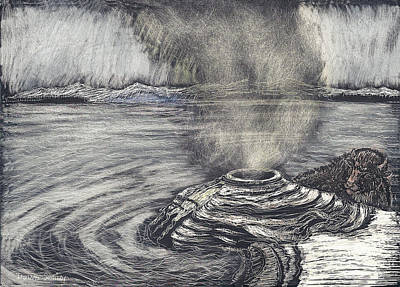 Drawing - Yellowstone Lake by Dawn Senior-Trask