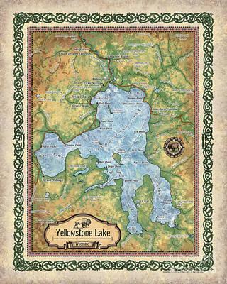 Painting - Yellowstone Lake, Lake, Yellowstone, Map Yellowstone, Yellowstone Map, Art Yellowstone, Yellowstone  by Lisa Middleton