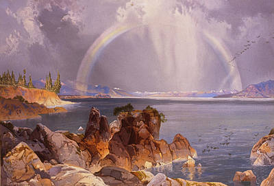 Yellowstone Wall Art - Painting - Yellowstone Lake by Thomas Moran