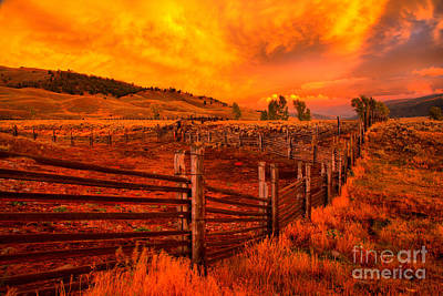 Photograph - Yellowstone Lamar Ranch Sunset by Adam Jewell