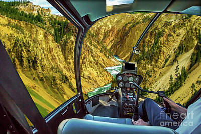 Photograph - Yellowstone Lower Falls Helicopter by Benny Marty