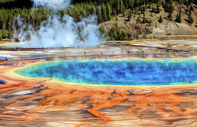 Yellowstone Wall Art - Painting - Yellowstone National Park Grand Prismatic Spring by Christopher Arndt