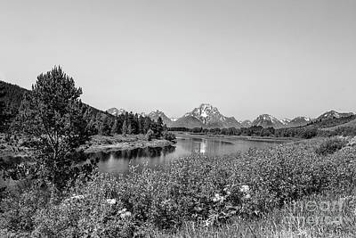 Photograph - Oxbow Bend, Grand Teton National Park In Black And White by Kay Brewer