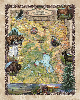 Painting - Yellowstone National Park Yellowstone, Map Yellowstone, Yellowstone Map, Art Yellowstone, Hiking Map by Lisa Middleton