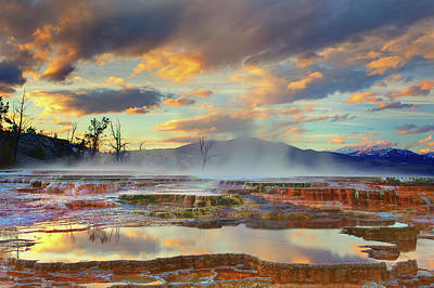 Reflections Photograph - Yellowstone National Park-mammoth Hot Springs by Kevin McNeal