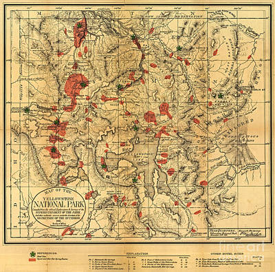 Photograph - Yellowstone National Park Map 1881 by John Stephens