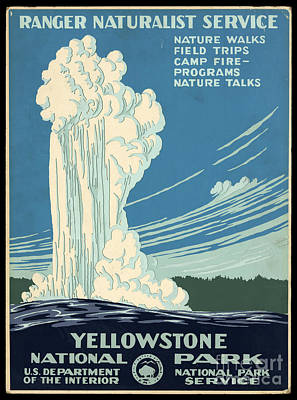Photograph - Yellowstone National Park Old Faithful Poster 1938 by John Stephens