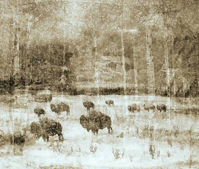 Bison Digital Art -  Yellowstone National Park - The Gathering by Image Takers Photography LLC - Carol Haddon