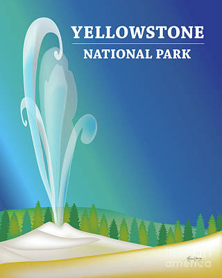 Yellowstone Digital Art - Yellowstone National Park Vertical Scene by Karen Young