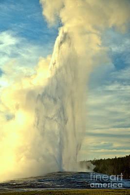 Photograph - Yellowstone Old Faithful Sunset Eruption by Adam Jewell