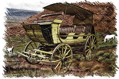 Photograph - Yellowstone Park Stage Coach With Horses Pa 01 by Thomas Woolworth