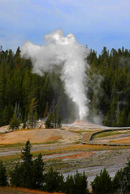 Steam Photograph - Yellowstone Park Wy - Geyser Letting Off Steam by Christine Till