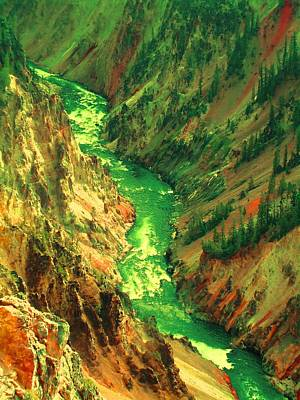 Digital Art - Yellowstone River by Ann Johndro-Collins