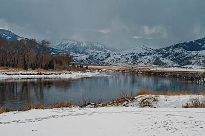 Yellowstone River In Light Snow Art Print