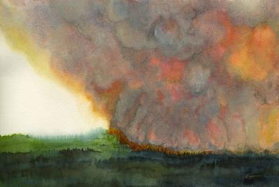 Wildfire Painting - Yellowstone Smoke Column by Tonja Opperman