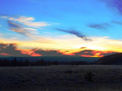 Photograph - Yellowstone Sunset by Adam Cornelison