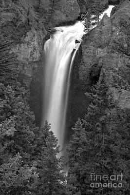 Photograph - Yellowstone Tower Falls Spring Portrait Black And White by Adam Jewell